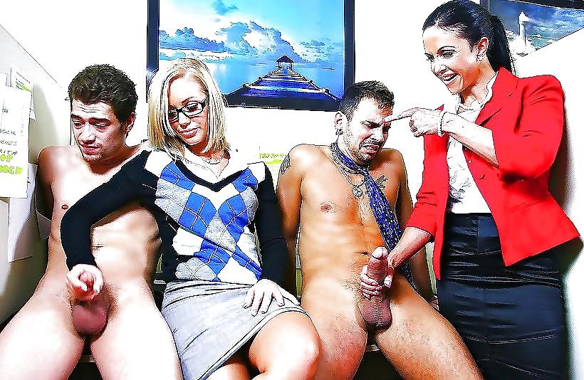 Naughty cfnm sluts in hot leather-2905