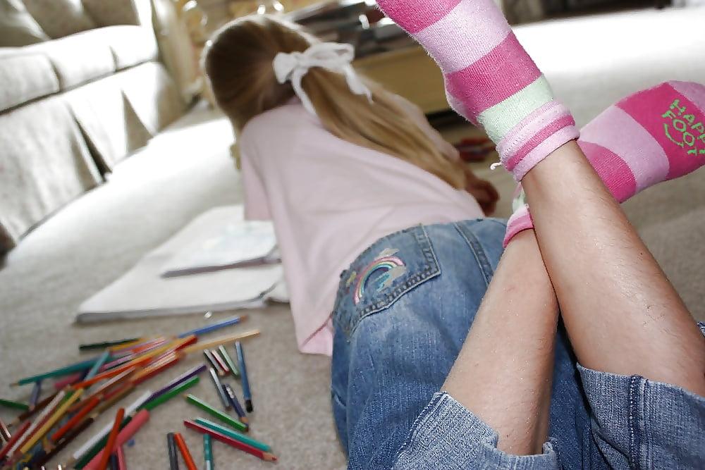 Naked Girls In Thigh High Striped Socks