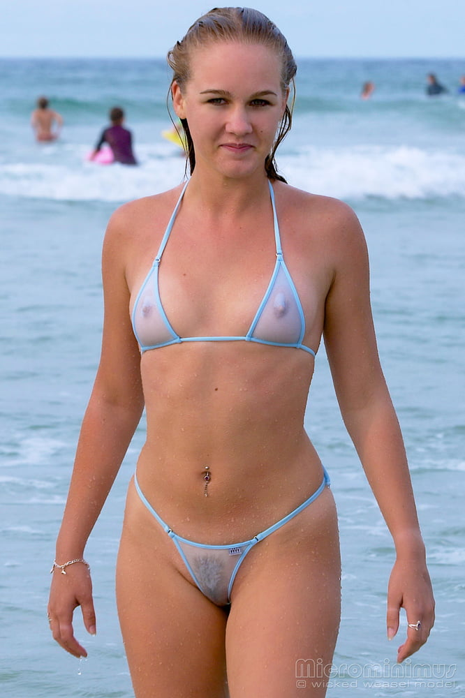 See Through Bikini Hairy Pussy Porn Pics