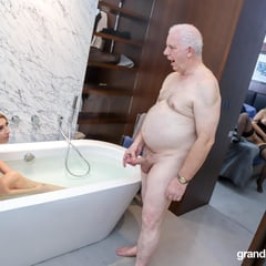 Au Pair Trying An Old Cock