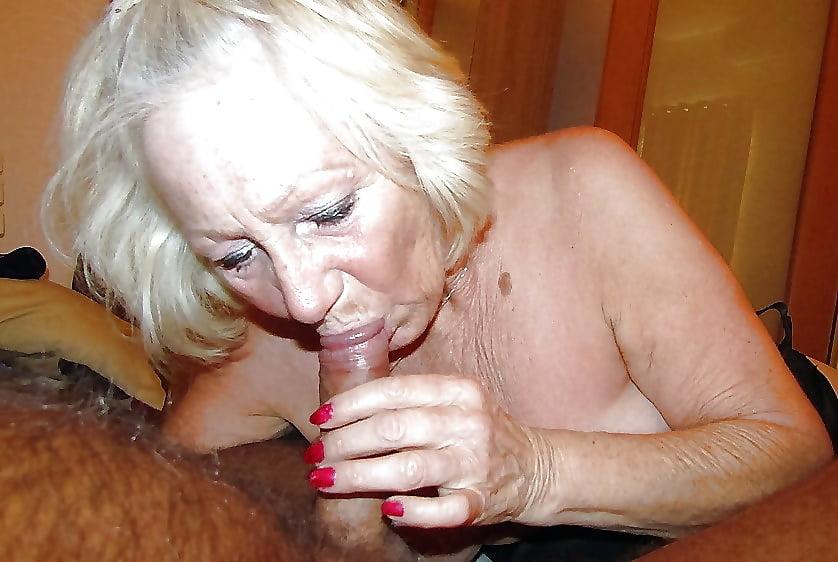 Redhead grandma sucks off young stud
